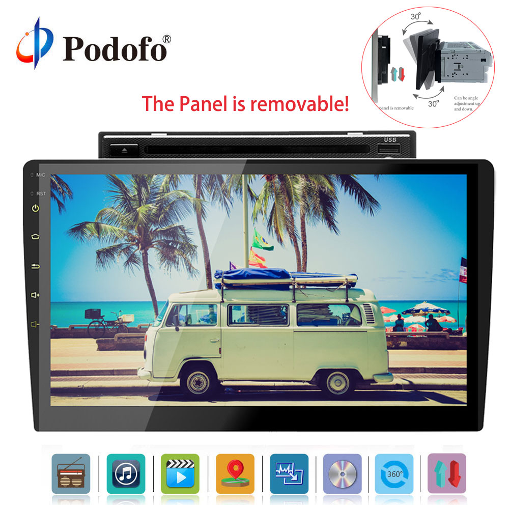"Podofo 2din Car CD/DVD Player Android 8.0 Autoradio 10"" Audio Stereo Multimedia Player Car Radio GPS/FM/AM/USB/Wifi/Mirror Link"