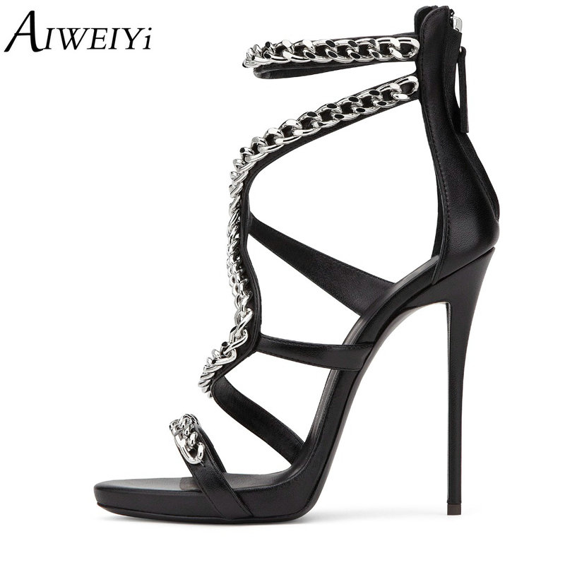 AIWEIYi Women Sandals Stiletto High Heels Shoes Summer Open Toe Sexy Wedding Party Strappy Women Shoes High Heel Sandals meotina shoes women sandals summer sexy stiletto high heel sandals open toe ankle strap party pumps lady shoes purple size 34 43