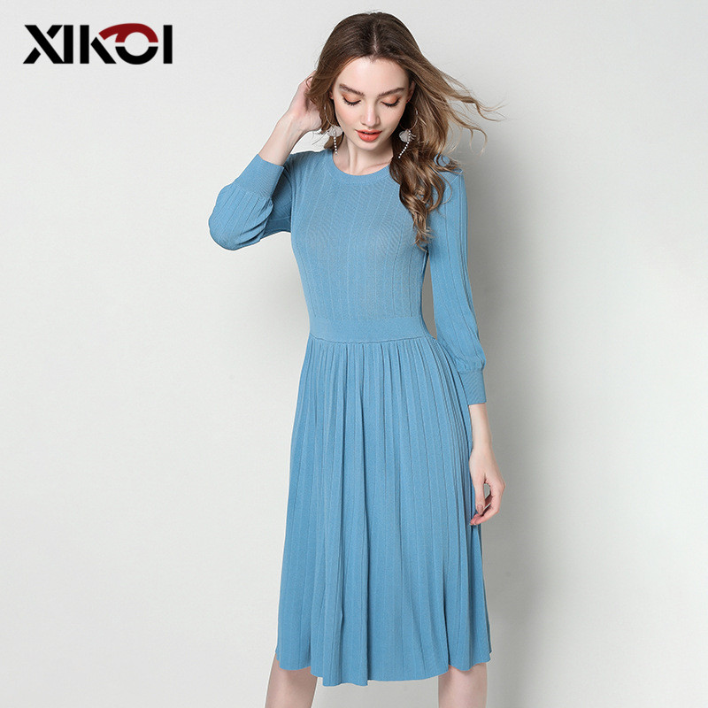 XIKOI Women Sweater Dress 2018 Fall Spring Long Sweety Bodycon Pleated Dresses Elastic Solid Skinny Knitted Dress