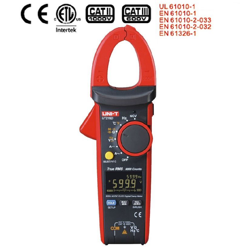 UNI T UT216D Clamp meter Digital True RMS Multimeter Analog bar AC DC Voltmeter OLED Inrush current Temperature/Capacitor Tester