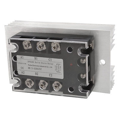 High quality  AC 90-280V to AC 380V 25A 3 Phase SSR Solid State Relay w Aluminum Heat Sink