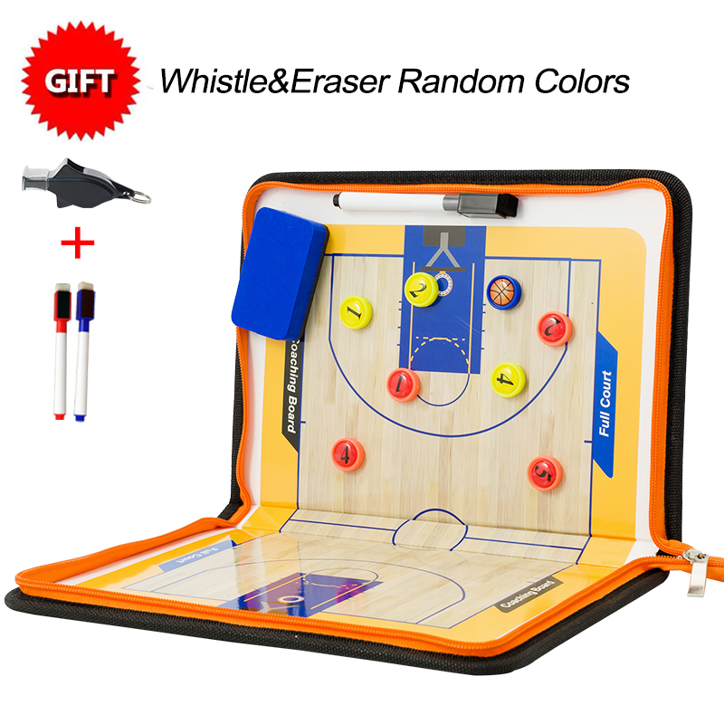 Professional Basketball Coach Board Double-sided Soccer Board Basketball Tactical Board With Whistle Zipper Coach Board