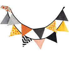 12 Flags 3.2m Fashion Yellow Black Cotton Fabric Bunting Pennant Banner Garland Baby Shower/Outdoor Tent Party Decoration