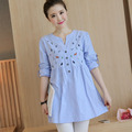 Embroidery Cotton Maternity Shirt Spring & Autumn Blouse Clothes for Pregnant Women Pregnancy Clothing New Fashion Shirt Big Siz