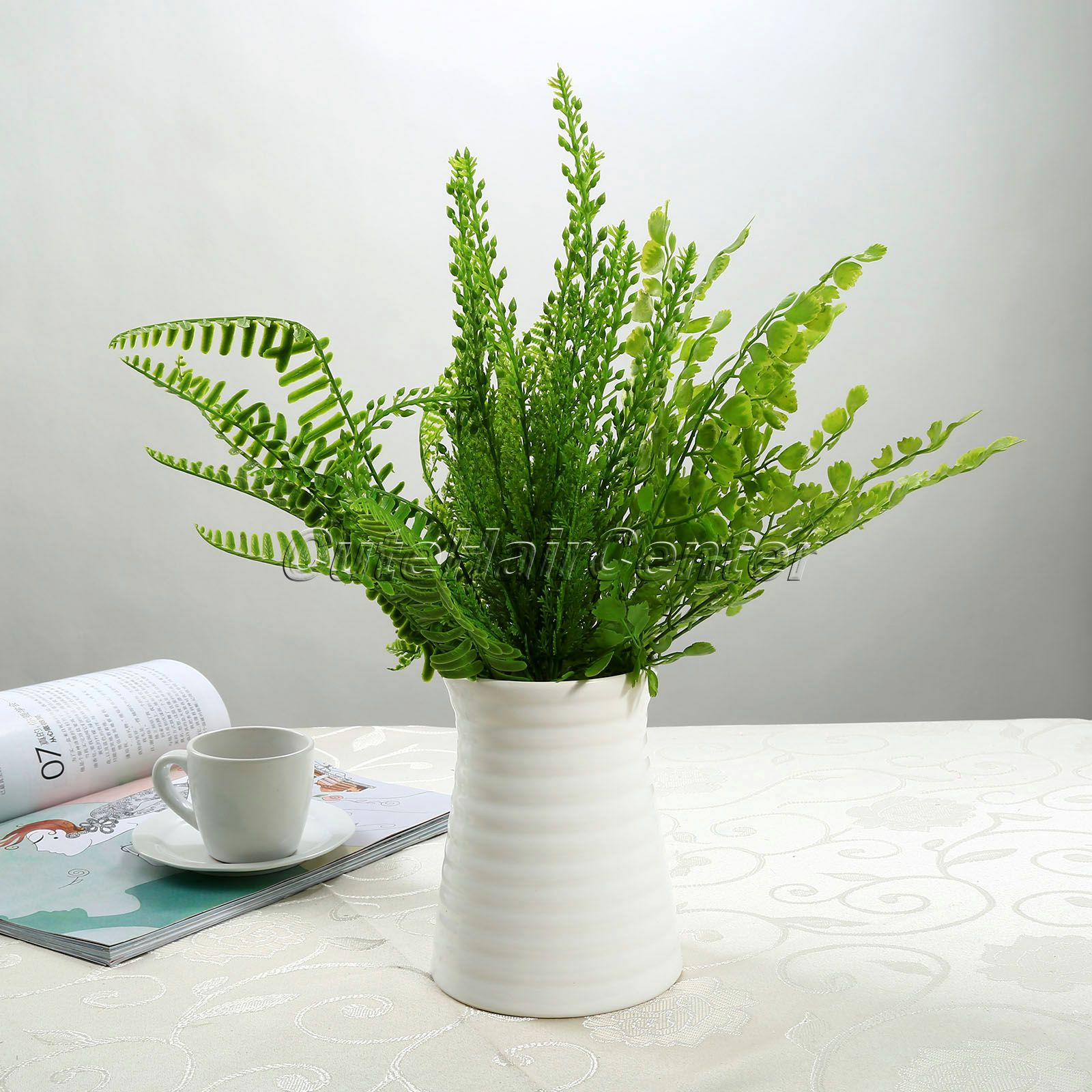 1 Pcs Plastic Fake Plant Green Leaves Potted Plant Flowers