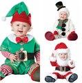 Unisex Bebê Macacão Terno de Papai Noel Traje Do Duende Do Natal Crianças Conjunto de Roupas Da Criança Animal Cosplay Macacões Roupa Infantil