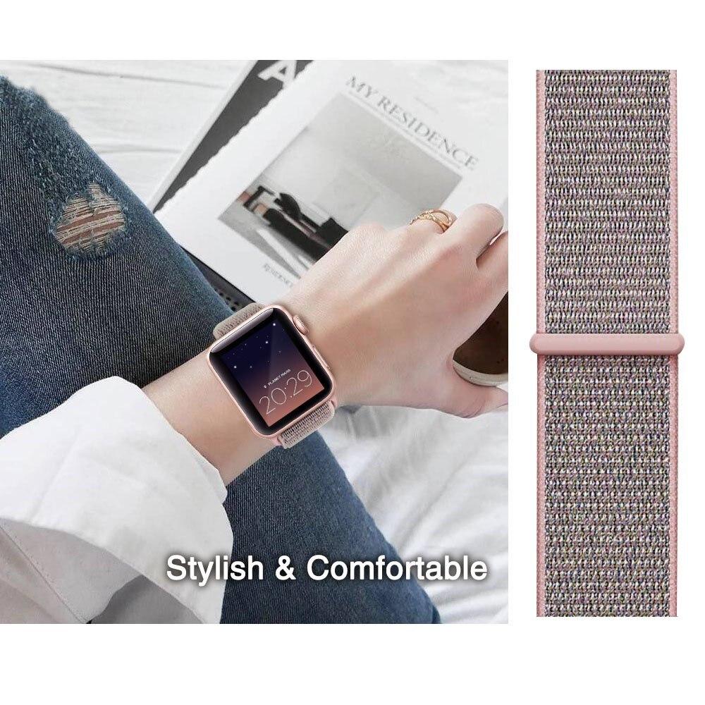 YOLOVIE For Apple Watch Band 38mm 42mm Sport Loop Nylon Woven Strap Bracelet Belt Wrist bands for iWatch Series 3 2 1