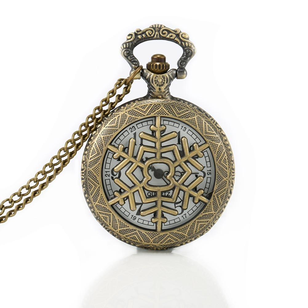 Snowflake Retro Steampunk Hollow Quartz Pocket Watch Necklace Pendant Sweater Chain Gift for Women Men Christmas Gift LL@17