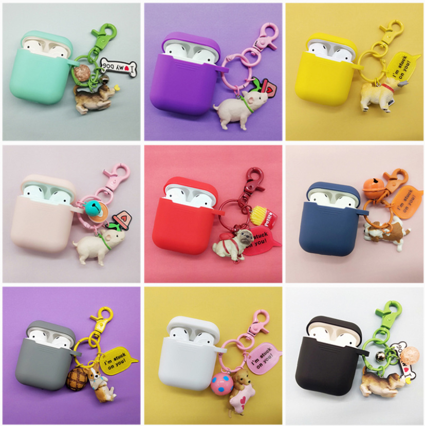 Cute puppy protector For Airpods Earphone Protective Case for air pods Cases Storage box cartoon dog Decorative keychain