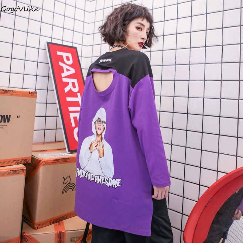 Hip Hop top T-Shirts Longue Coton 2018 Nouveau Noir Femmes chemise Évider T-shirts Trous Surdimensionnés Punk T-shirts Longue Sleev5 LT035S50