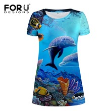FORUDESIGNS Women Wholesale ocean Animal Beach Dress Summer Casual Sundress O-Neck Short Sleeve Sexy Midi T Shirt S M L XL