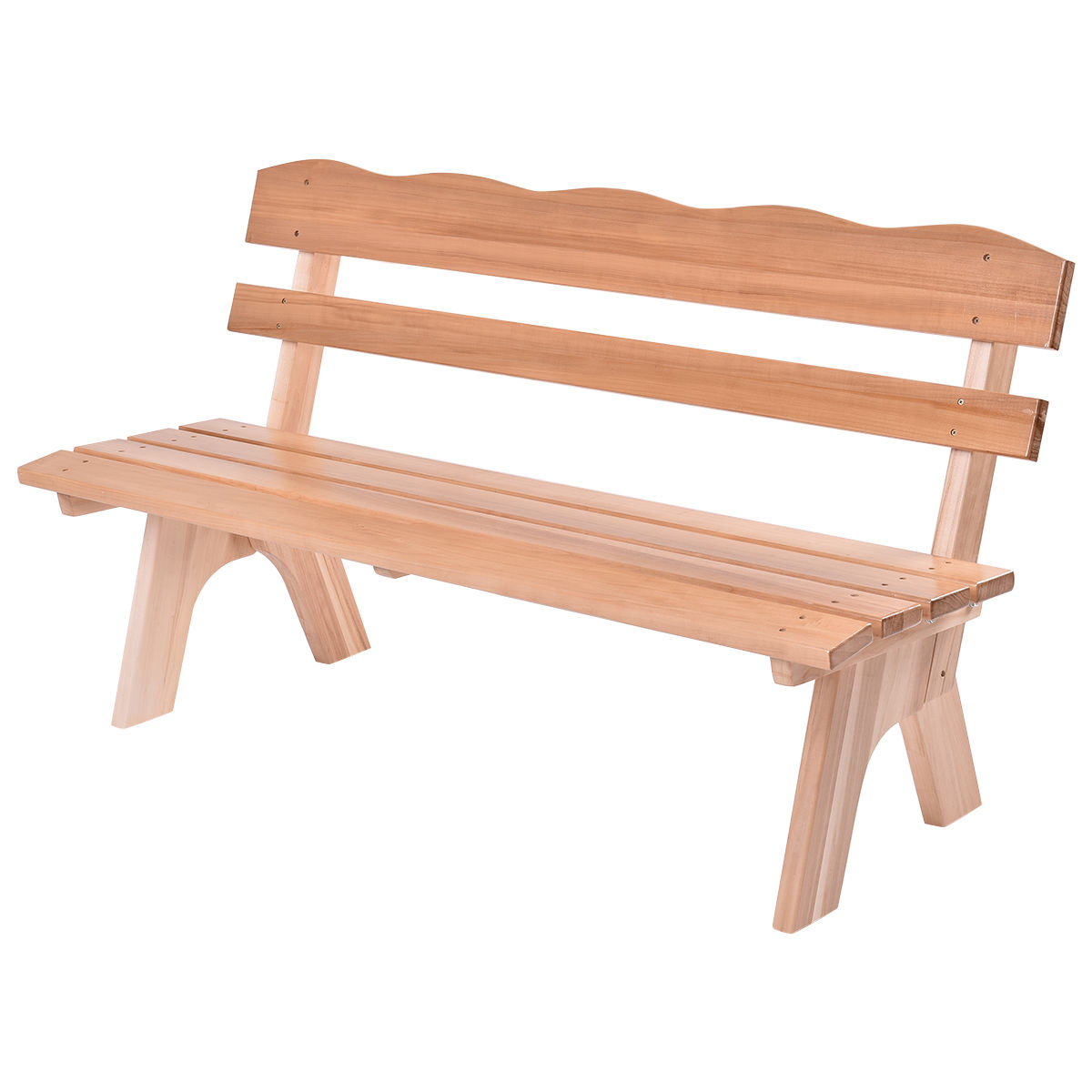 Giantex 5 Ft 3 Seats Outdoor Wooden Garden Bench Chair Modern Wood