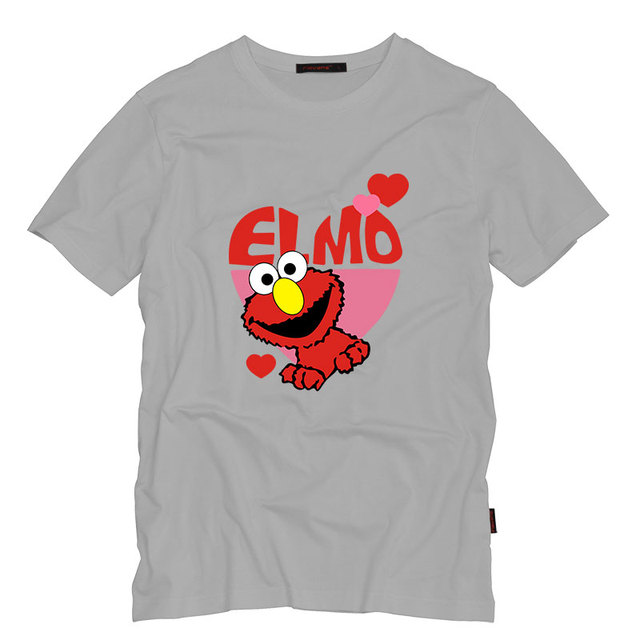 Sesame Street ELMO Adult T shirts Men Funny Cotton Short Sleeve O ...