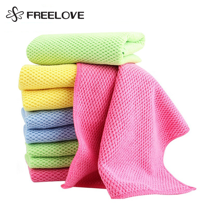 8 Pieces Corn Kernels Double-sided Solid Microfiber Cleaning Cloth Absorbent Kitchen Washing Towels Glasses Cleaner 30x40cm