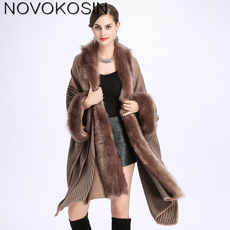 SC140 Women Faux Fox Fur Neck Capes Soft Poncho 2017 Winter Shawl Oversized Knitted Sweater Italian Long Cashmere Cardigan Coat in Women 39 s Scarves from Apparel Accessories