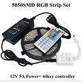 5050 RGB LED Luz de Tira Impermeável IP65 60 LEDs/m 5 M Flexível luzes Fita de LED 44 teclas de Controle Remoto IR 12 V 5A Potência fornecer