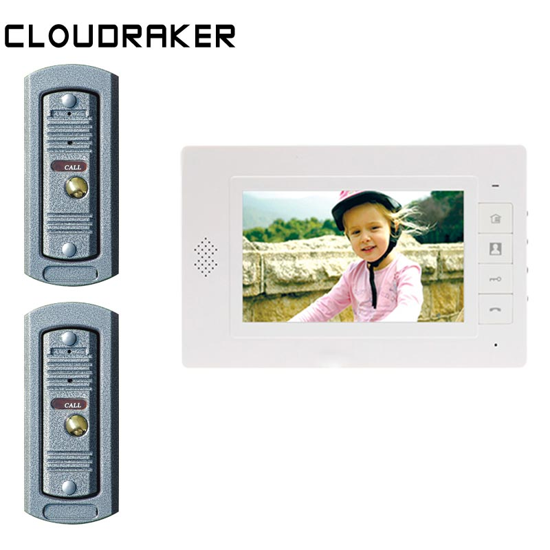 CLOUDRAKER 7 Inch Video Doorbell Intercom System 1x Monitor with 2x Pi Wired Door Phone CameraCLOUDRAKER 7 Inch Video Doorbell Intercom System 1x Monitor with 2x Pi Wired Door Phone Camera
