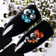 1 Box Colorful Nail Art Decoration Mixed Size 3D Crystal Rhinestone Sharp Bottom Manicure Jewelry Accessories