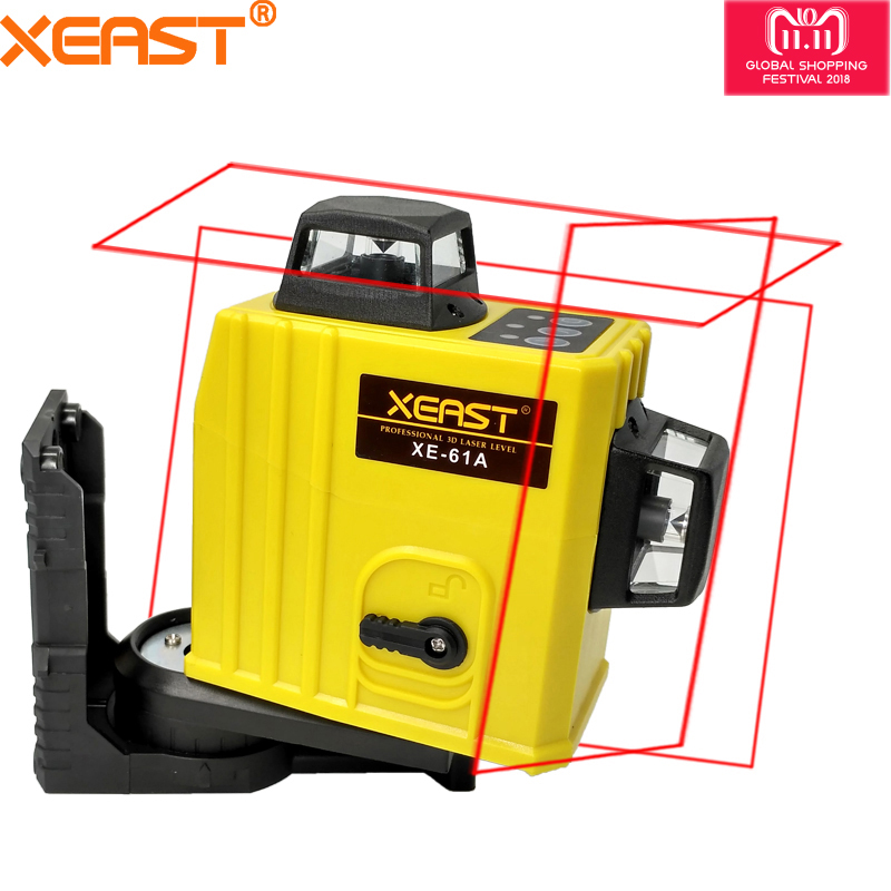 XEAST XE-61A 12 line 360 Self-leveling Cross Line 3D Laser Level Red Beam Low price laser level meter 7 pin 30mm male