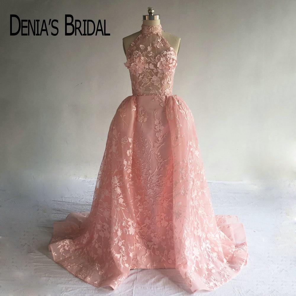 Puffy Rosa Abendkleider mit Überrock Echt Bild High Neck ...