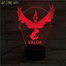 Pokemon Go Team Valor Childrens Night Lamp LED Touch Sensor Bedroom Decorative Holiday Gift 3d Light USB