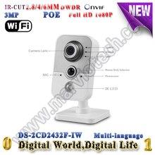 3-МЕГАПИКСЕЛЬНАЯ 2.8 мм объектив ip-камера DS-2CD2432F-IW POE камеры безопасности Wi-Fi камера беспроводная мини камера микрофон camaras де seguridad