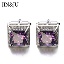 Brand High QualitHot Sales Purple AAA Zircon Cufflinks Luxuryy Crystal Groom Wedding Cuff Links For Mens With Gift Box Gemelos