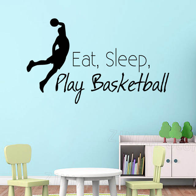 Online Shop Eat Sleep Play Basketball Wall Decal Quote Sport Vinyl Stickers Dorm Decor Basketball Player Silhouette Wall Sticker Boys Z483 Aliexpress Mobile 11 11 Double 11 Singles Day