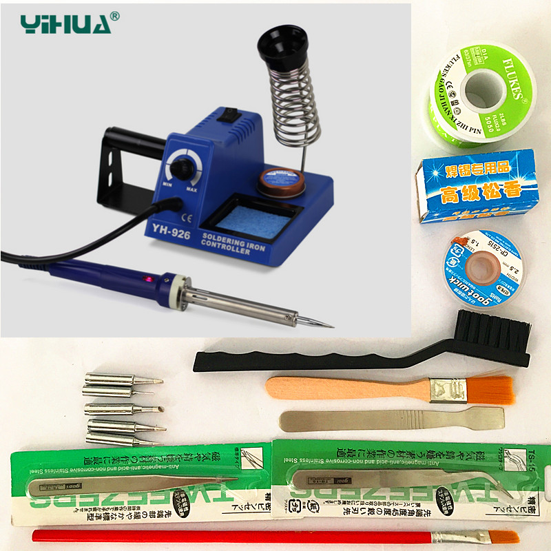 60W 220V/110V EU Electric Adjustable Temperature Welding Solder Soldering Iron Welding Tool with 5pcs Iron Tips + Tin wire