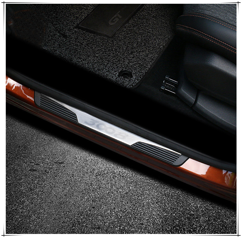 For Peugeot 3008 GT 2016 2017 2018 Outer Door Sill Protector Scuff Plate Threshold Cover Trim 4PCS Car Styling брызговики передние и задние кроме gt для peugeot 3008 2017