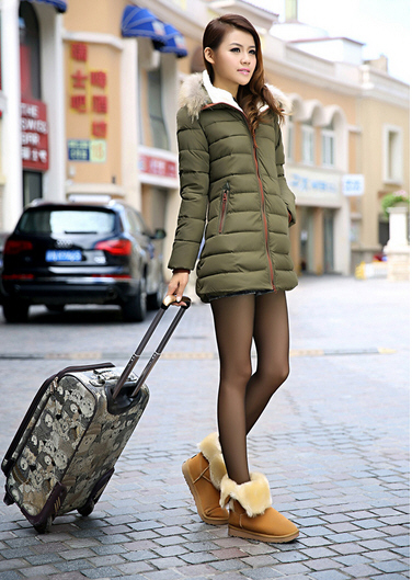 2013 new Slim long down coat plus size thick down padded fur collar winter coat womens pleated hooded duck down jacket H1185