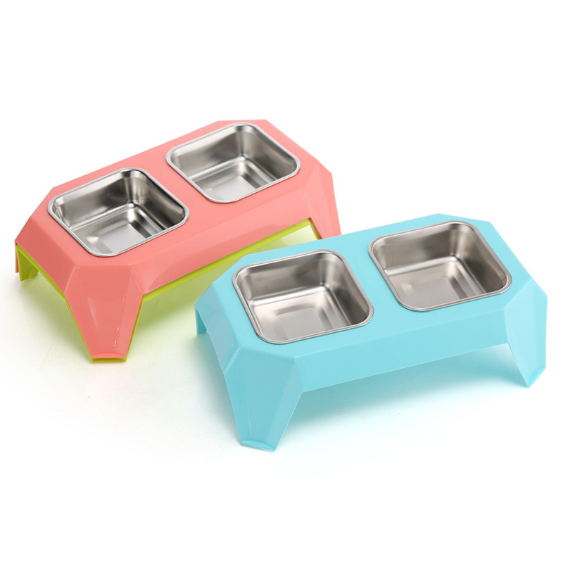 New Pet Dog Feeders Bowl Stainless Steel Double Mouth Dog Bowl for Small and Medium Dog Pet Supplies(pink,blue,green) ...