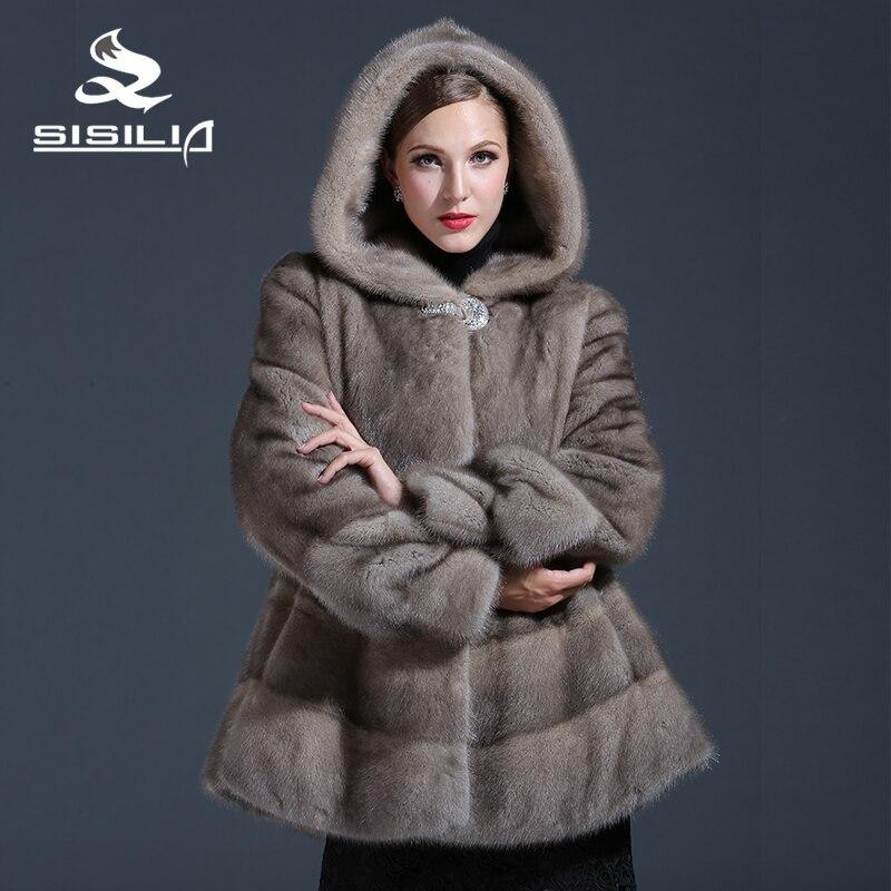 2016 Новые женские Зимние Норки Пальто Серый Цвет Норки Красивая Мода Весенний Фестиваль Продажа