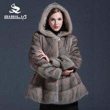 2016 New Women's Winter Mink Fur Coat Grey Color Mink Fur Beautiful Fashion Spring Festival Sale