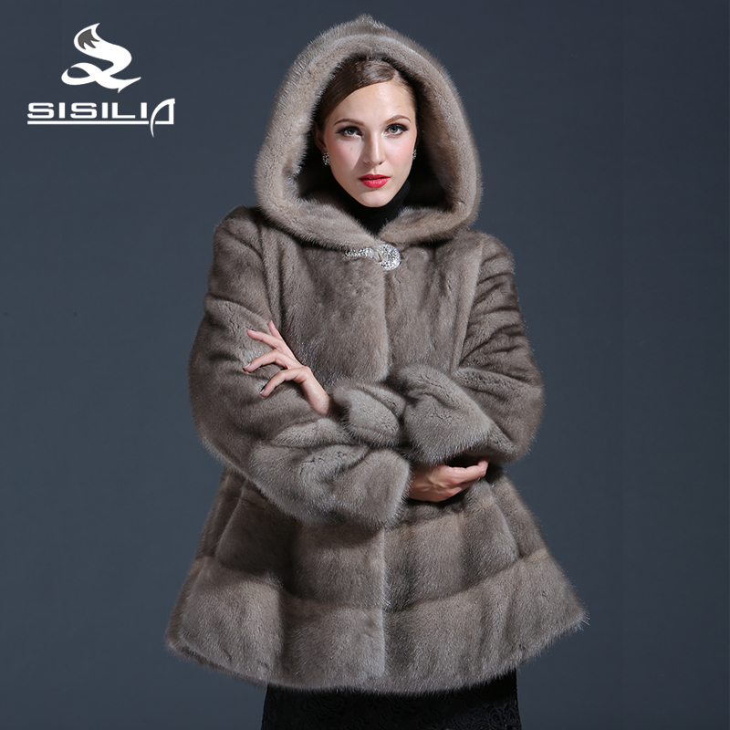 SISILIA 2017 Customizable Women's Winter Real Mink Fur Coat Grey Color Mink Fur Fashion Luxury Mink Fur Coat For Female