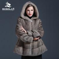 SISILIA 2017 Customizable Women's Winter Real Mink Fur Coat Grey Color Mink Fur Fashion Luxury Mink Fur Coat For Female