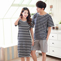 Summer couples new models of cotton pajamas stripes home service ladies short - sleeved skirt men short - sleeved suit R222