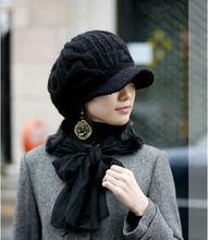 2016 Nuevo invierno enarboló tapas bassball mujeres moda de punto sombreros  Twist señora touca inverno caliente 34ba10bb534