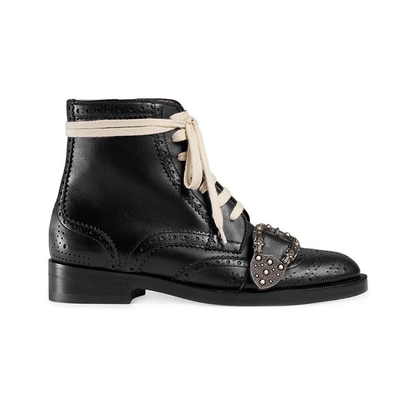 Combate Plataforma Martin Hebilla Botas Plus Mujer Para Zapatos as Suave Mujeres Show Encaje Lujo As Plana Cinturón Metal Tallada Tobillo Size44 De Las Show q786Svxn