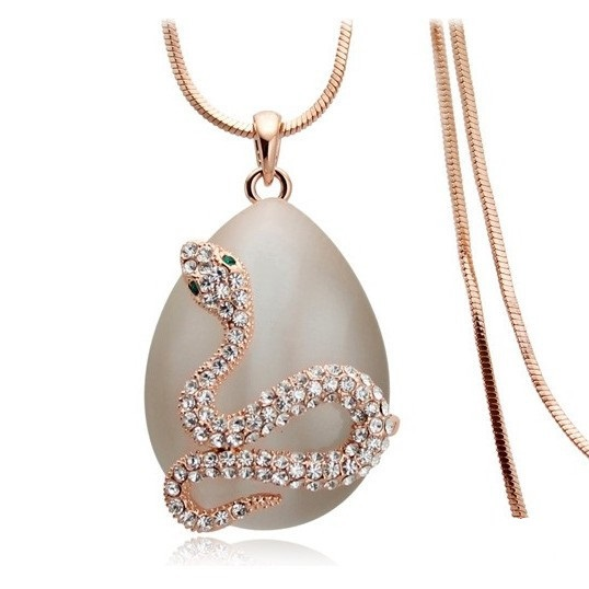 New Brand Designer Cat Eyes Opal Water Drop Snake Necklace Long Sweater Chain Fashion Costume Jewelry