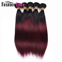 Fashion Lady Per colored Brazilian Straight Hair 3 Bundles 1b/99j Ombre Human Hair Extensions Non remy Hair Weave Bundles