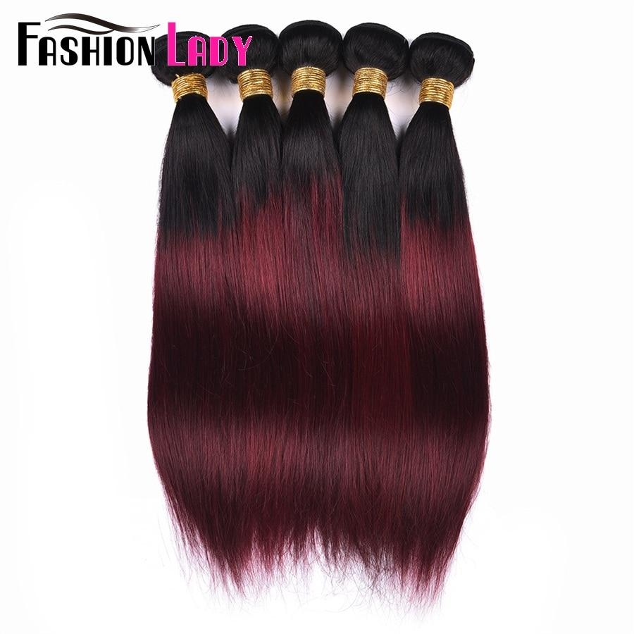 Fashion Lady Per-colored Brazilian Straight Hair 3 Bundles 1b/99j Human Hair Extensions Ombre Non-remy Hair Weave Bundles