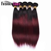 Fashion Lady Per colored Brazilian Straight Hair 3 Bundles 1b/99j Ombre Human Hair Extensions Non remy Hair Weave Bundles