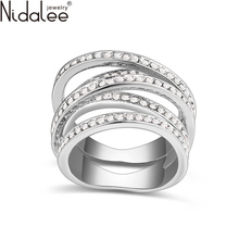Nidalee 2016 Design Crystal From Swarovski Rings For Women Gold Plated Fashion Luxury Vintage Wedding Rings Jewelry Anillos R351