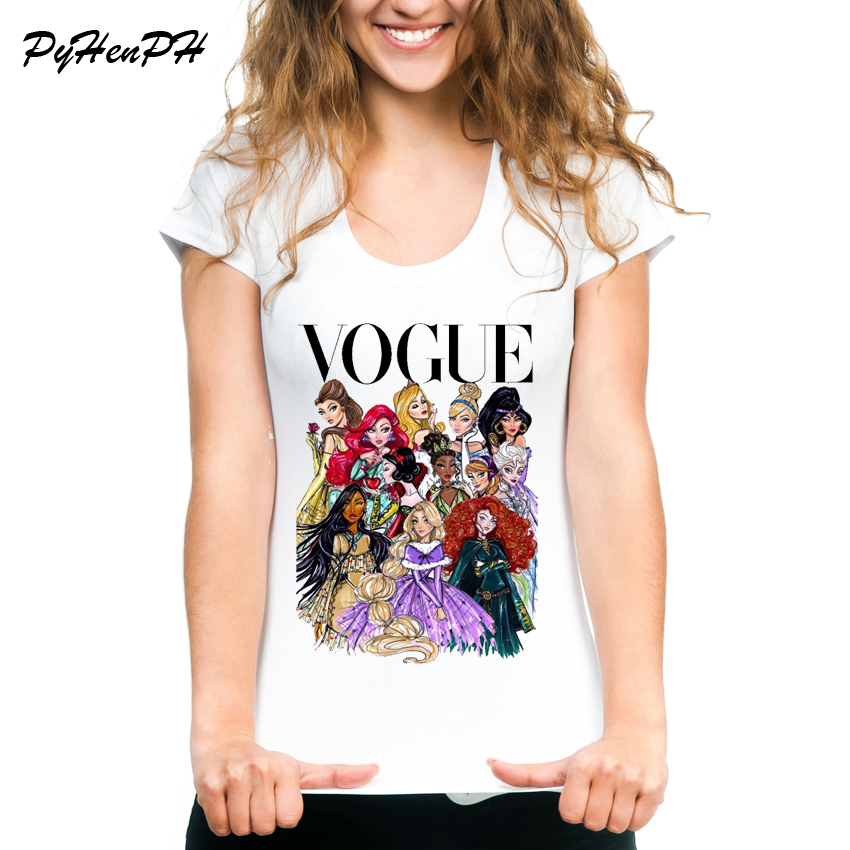 VOGUE Punk princesa impresa camiseta 2018 verano estilo moda mujer camiseta divertida Harajuku manga corta casual camisetas lovrly tops