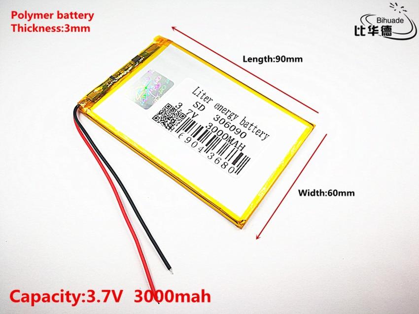 3,7 V 3000 Mah 306090 Lithium-polymer Li-po Li Ionen Akku Zellen Für Mp3 Mp4 Mp5 Gps Mobile Bluetooth Produkte HeißEr Verkauf
