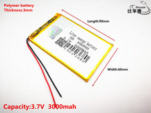 3.7V 3000mAh 306090 Lithium Polymer Li-Po li ion Rechargeable Battery cells For Mp3 MP4 MP5 GPS  mobile bluetooth