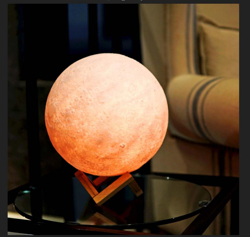 Amroe 3D Print Moon Lamp Color Change RC Remote Control Bedroom Bookcase Bar Night Light Wedding Party Decor Birthday Xmas Gifts