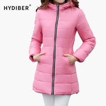 2015 Winter Jacket Women Long Hooded Parka Plaid Fabric Interlining Slim Cotton-Padded Candy Color Cotton Jacket Coat