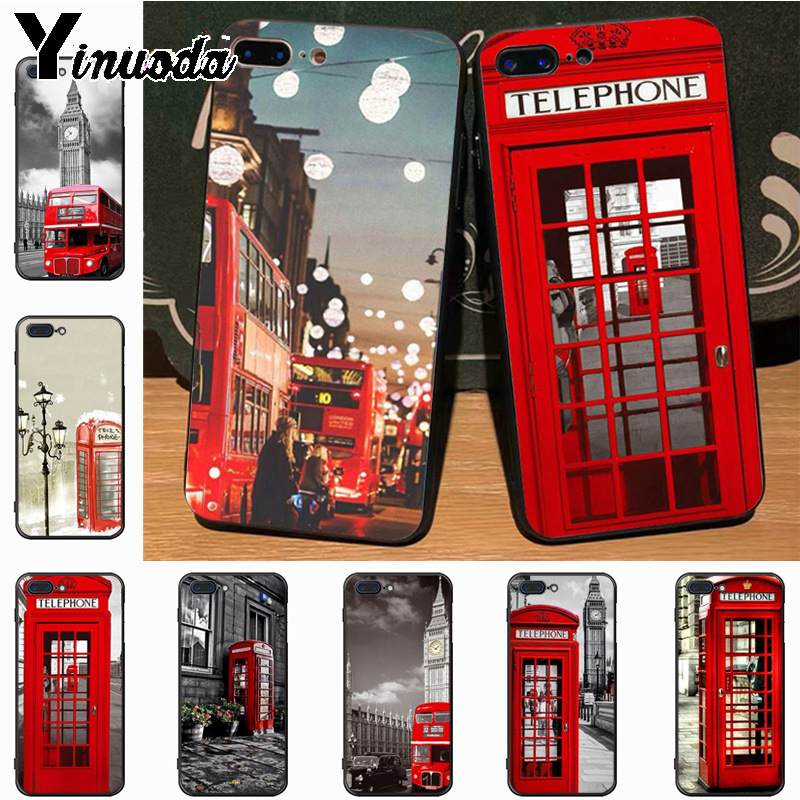 Yinuoda Multi colored bus london phone booth light soft tpu Phone Case for iPhone 7plus X 6 6S 7  8 8Plus 5S 11pro case